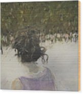 Woman And Croud In Park Wood Print
