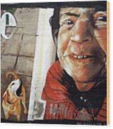 Woman And Dog Wood Print