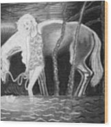 Woman And Horse And River Wood Print