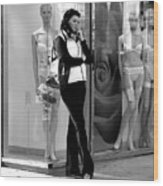 Woman And Mannequins Wood Print