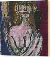 Woman And Mirror Wood Print