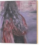 Woman And Scarf Wood Print
