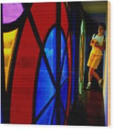 Woman And Stained Glass Wood Print