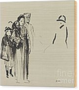Woman And Two Children With German Soldiers Wood Print