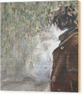 Woman And Waterfall Wood Print