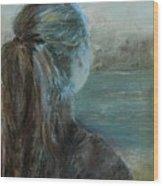 Woman At Bay Wood Print