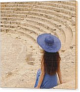 Woman At Greco-roman Theatre At Kourion Archaeological Site In C Wood Print