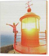 Woman At Nazare Lighthouse Wood Print