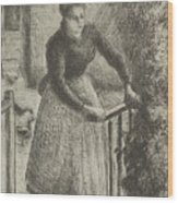 Woman At The Gate Wood Print