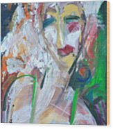 Woman At The Jazz Club Wood Print