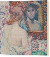 Woman At The Mirror  Wood Print