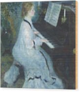 Woman At The Piano Wood Print