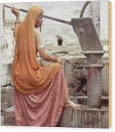 Woman At The Pump Wood Print