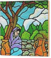 Woman At The Well Wood Print