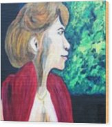 Woman At The Window Wood Print