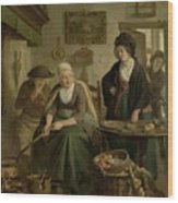 Woman Baking Pancakes Wood Print