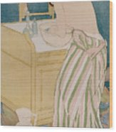 Woman Bathing Wood Print