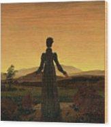 Woman Before The Rising Sun Woman Before The Setting Sun1818-20  By Caspar David Friedrich 1774 Wood Print