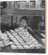 Woman Behind Fast Food Counter Wood Print