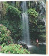 Woman Beneath Waterfall Wood Print