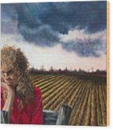 Woman By A Plowed Field Wood Print