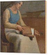 Woman Carding Wool Wood Print