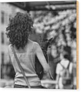 Woman Carry Dog Nyc Blk Wht  Wood Print