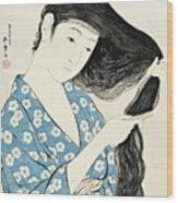 Woman Combing Her Hair Kami Sukeru Onna Wood Print
