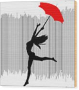 Woman Dancing In The Rain With Red Umbrella Wood Print