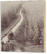 Woman Doing Laundry In Canal- Sepia Wood Print