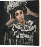 Woman Dressed In Price Tag Wood Print