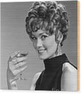 Woman Drinking Champagne, C.1960s Wood Print
