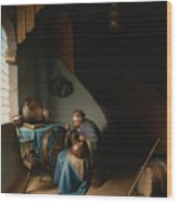 Woman Eating Porridge Wood Print