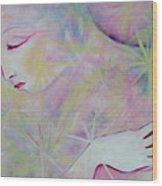 Woman Face Detail Wood Print