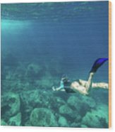 Woman Free Diving Wood Print