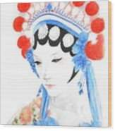 Woman From Chinese Opera With Tattoos -- The Original -- Asian Woman Portrait Wood Print