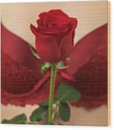 Woman Holding A Red Rose Wood Print