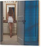 Woman In A Bathroom Wood Print