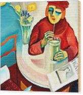 Woman In A Cafe Wood Print