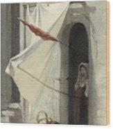 Woman In A Doorway. Rome Wood Print