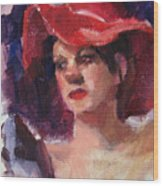 Woman In A Floppy Red Hat Wood Print