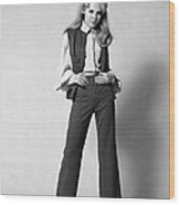 Woman In A Pantsuit, C.1960-70s Wood Print