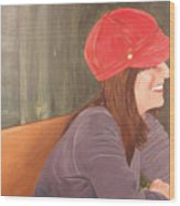 Woman In A Red Cap Wood Print