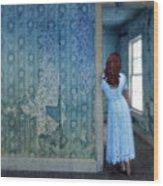 Woman In Abandoned House Wood Print by Jill Battaglia