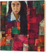 Woman In Abstract 454 Wood Print