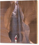 Woman In Antelope Canyon Wood Print