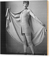 Woman In Bathing Suit And Cape, C.1920s Wood Print