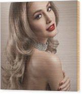 Woman In Big Curls Hollywood Glam Look Wood Print