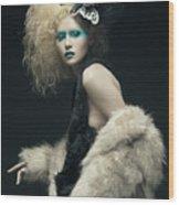 Woman In Black Avant-garde Attire With Butterfly Headdress Wood Print