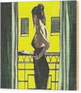 Woman In Black Dress On Balcony Wood Print
